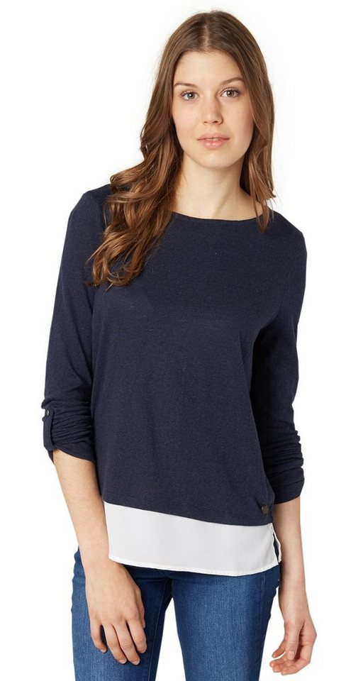 TOM TAILOR DENIM T-Shirt »T-Shirt mit Blusen-Underlayer« in sky captain blue