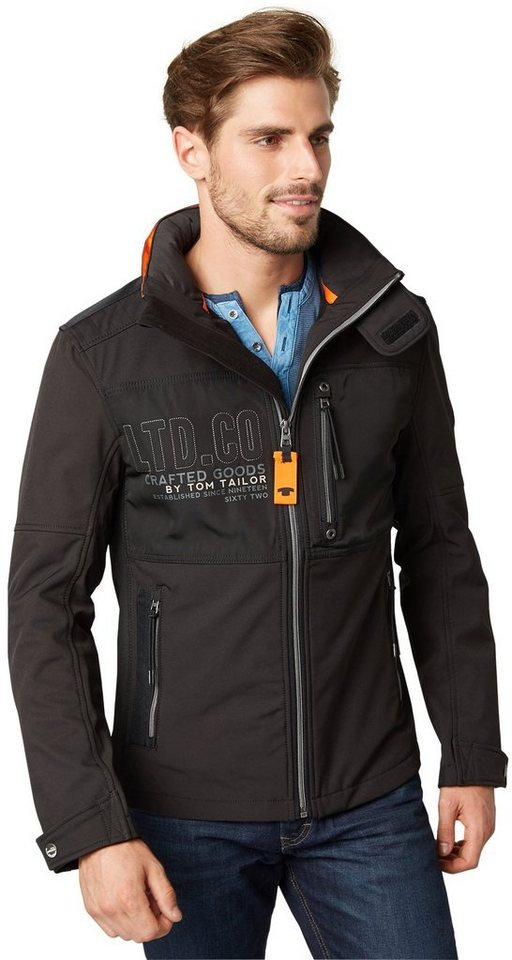tom tailor jacke decorated softshell jacket in black. Black Bedroom Furniture Sets. Home Design Ideas