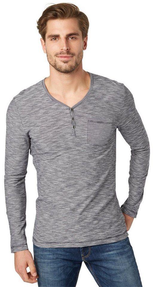 TOM TAILOR T-Shirt »gestreiftes Serafino-Shirt« in navy 01