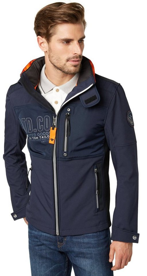 tom tailor jacke decorated softshell jacket in knitted navy. Black Bedroom Furniture Sets. Home Design Ideas
