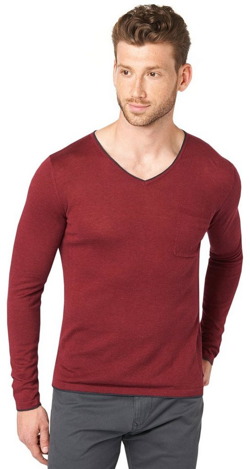 TOM TAILOR Pullover »leichter Strick-Pullover« in tile red