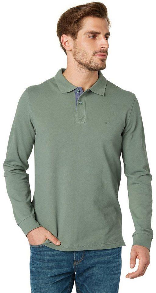 TOM TAILOR Poloshirt »basic cozy longsleeve polo« in pale bark green
