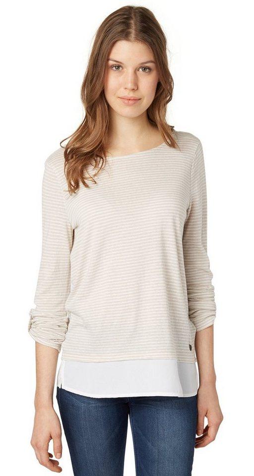 TOM TAILOR DENIM T-Shirt »gestreiftes Shirt mit Underlayer« in off white