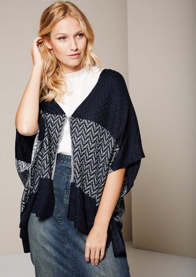 COMMA Eleganter Poncho mit dekorativem Muster in marine knit