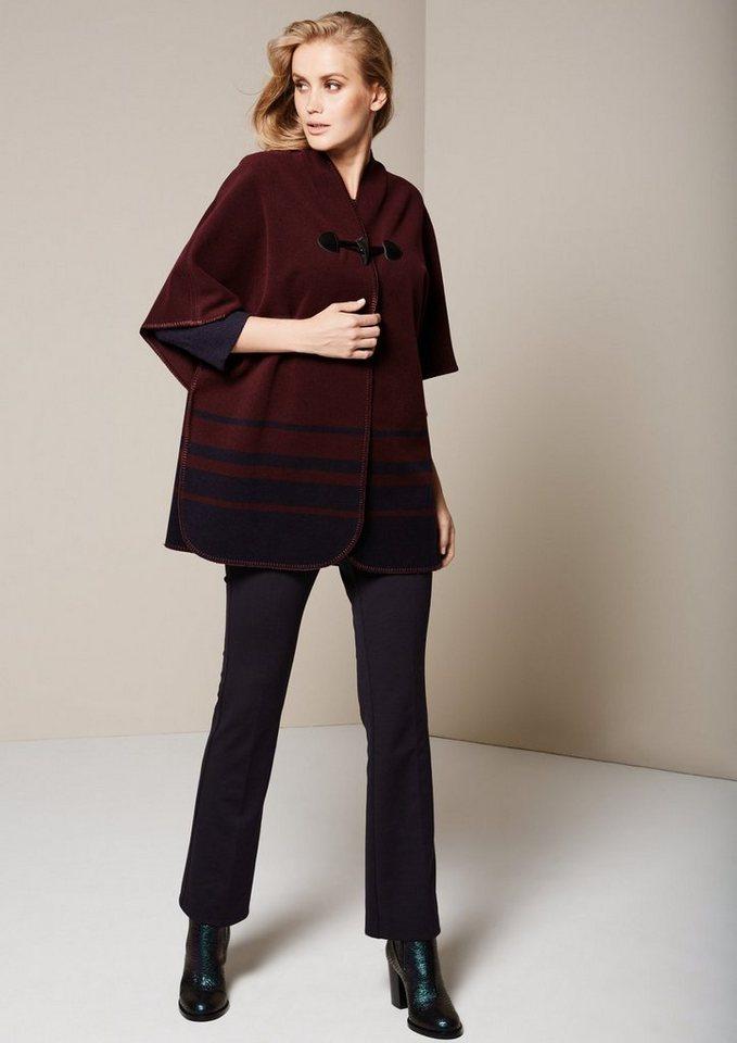 COMMA Herbstlicher Poncho mit schönem Knebelverschluss in merlot stripes