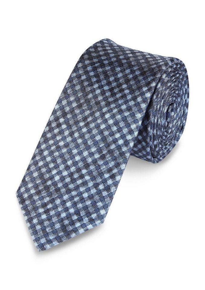 s.Oliver PREMIUM Karierte Seiden-Krawatte in blue
