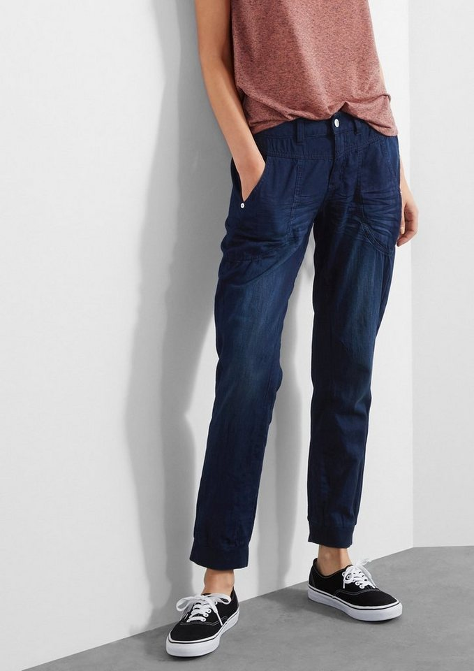 Q/S designed by Boyfriend: Legere Hose in Denim-Optik in blue denim heavy sto