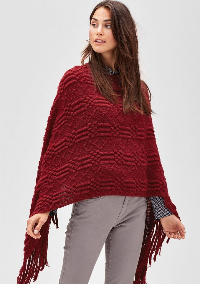 s.Oliver PREMIUM Poncho im Musterstrick mit Fransen in glory red