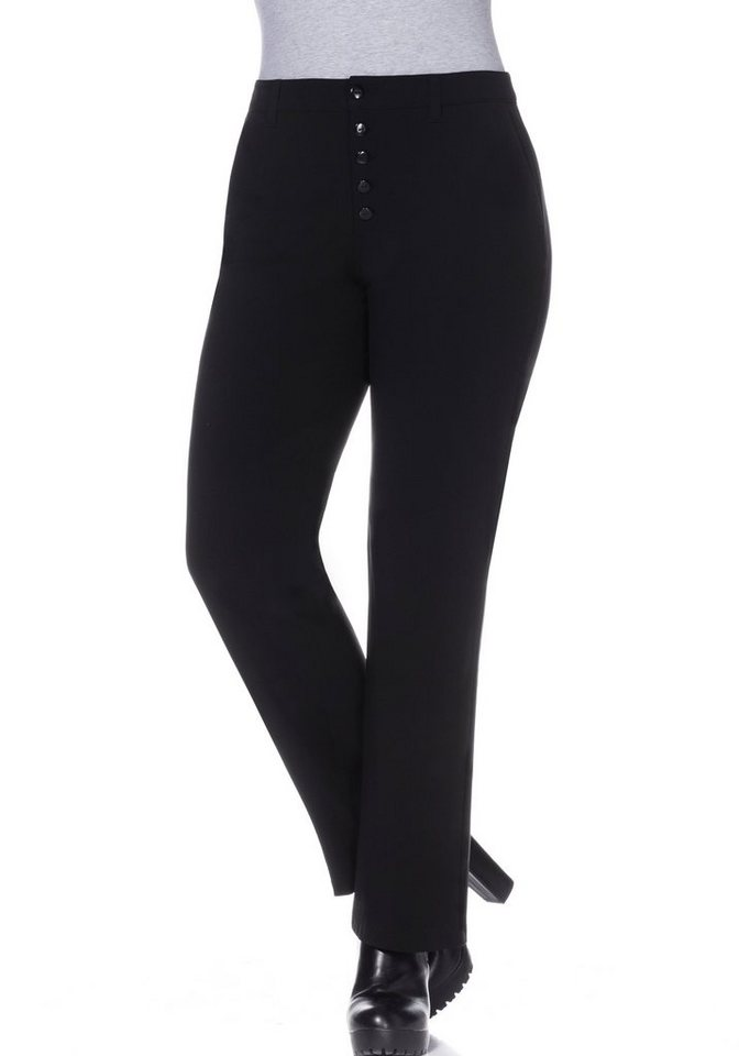 sheego Trend Weite Stretch-Hose in schwarz