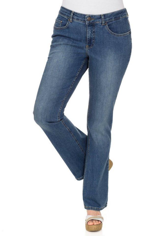 sheego Denim Bootcut-Stretch-Jeans in blue denim
