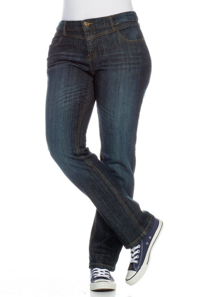 sheego Denim Gerade Stretch-Jeans in dark blue