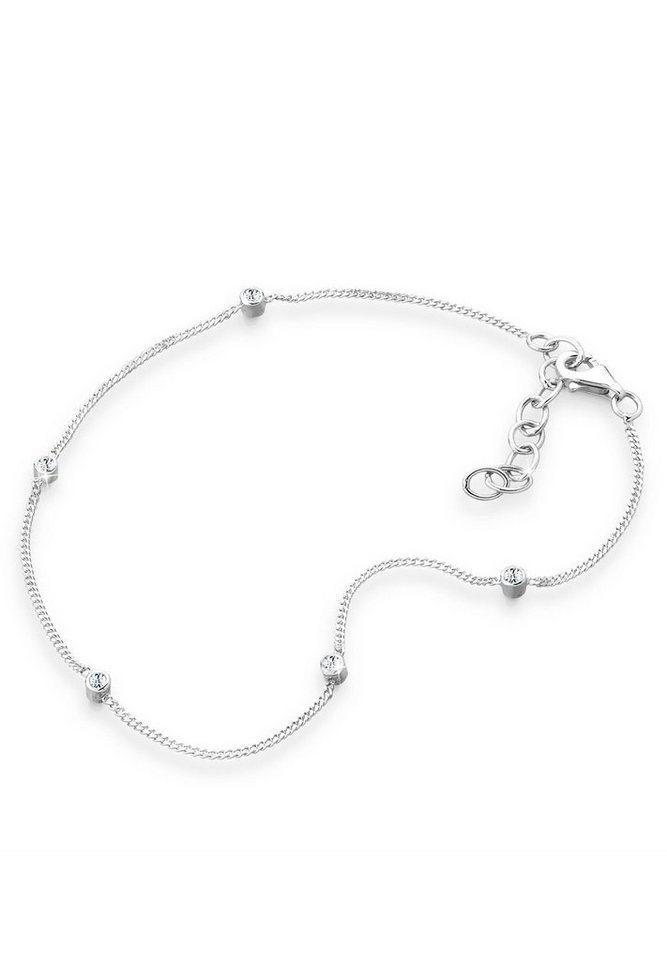 Elli Fußschmuck »Swarovski® Kristalle Silber« in Weiß