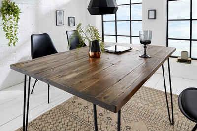 riess-ambiente Esstisch »SCORPION 120cm braun / schwarz«, Massivholz · Küchentisch · Hairpin Legs · Retro · Akazie