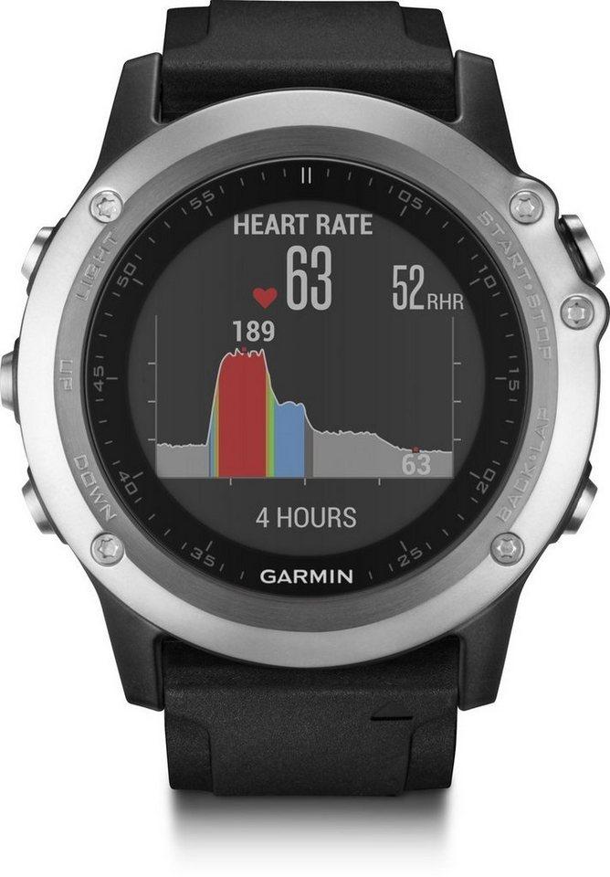 Garmin GPS-Multisportuhr »fenix 3 HR« in Schwarz-Silber