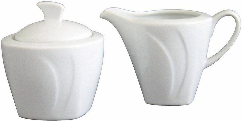 Milch-/Zucker-Set, 2-teilig, »Celebration«, in weiß in weiß