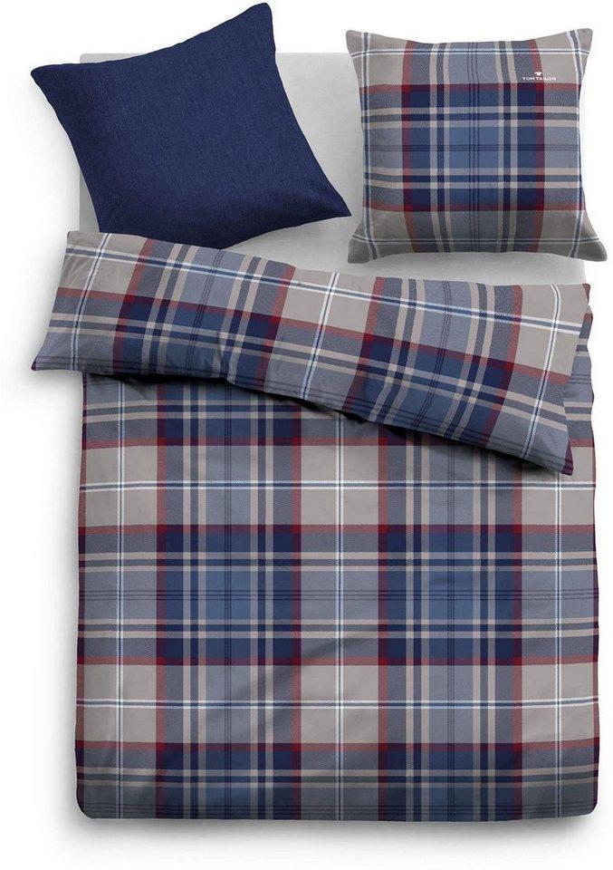 Bettwäsche, Tom Tailor, »Sort«, mit Karos in blau