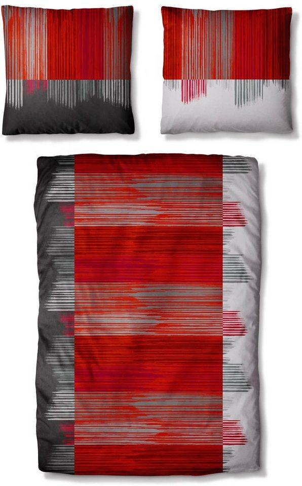 Bettwäsche, Auro Hometextile, »Splay«, mit Strich-Muster in rot