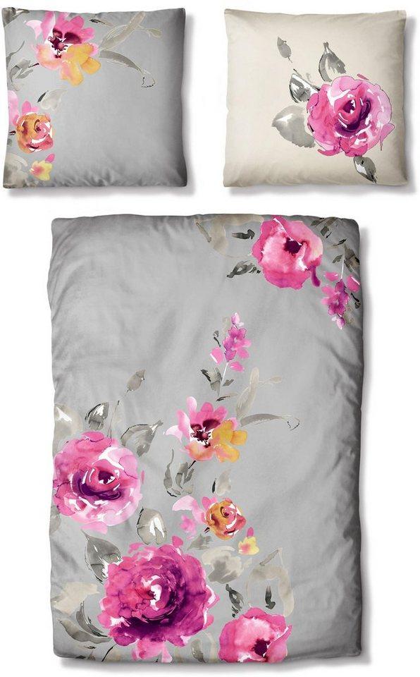 Bettwäsche, Auro Hometextile, »Rosi«, mit Blüten in grau