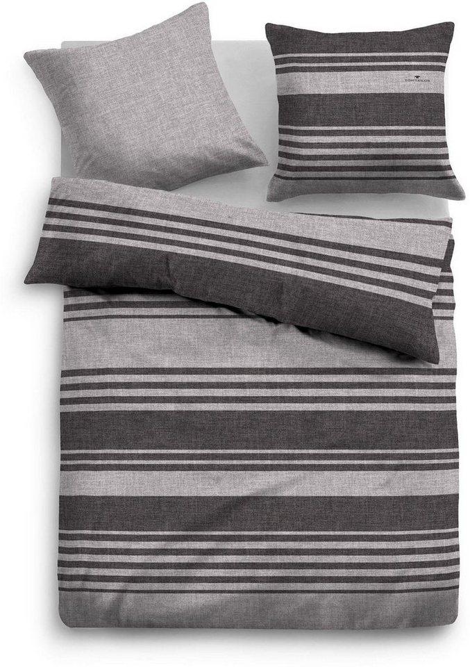 Bettwäsche, Tom Tailor, »Stey«, mit dezenten Streifen in grau