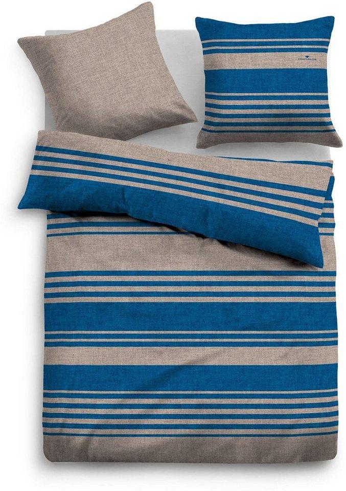 Bettwäsche, Tom Tailor, »Stey«, mit dezenten Streifen in taupe-blau