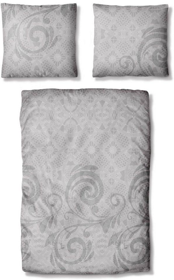 Bettwäsche, Auro Hometextile, »Slay«, mit leichten Mustern in grau