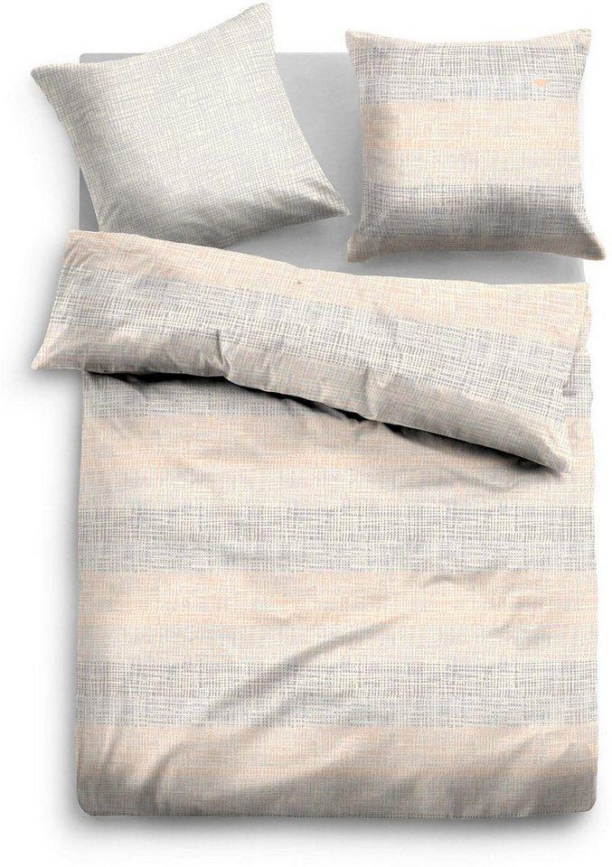 Bettwäsche, Tom Tailor, »Stack«, mit feinem Muster in grau-natur