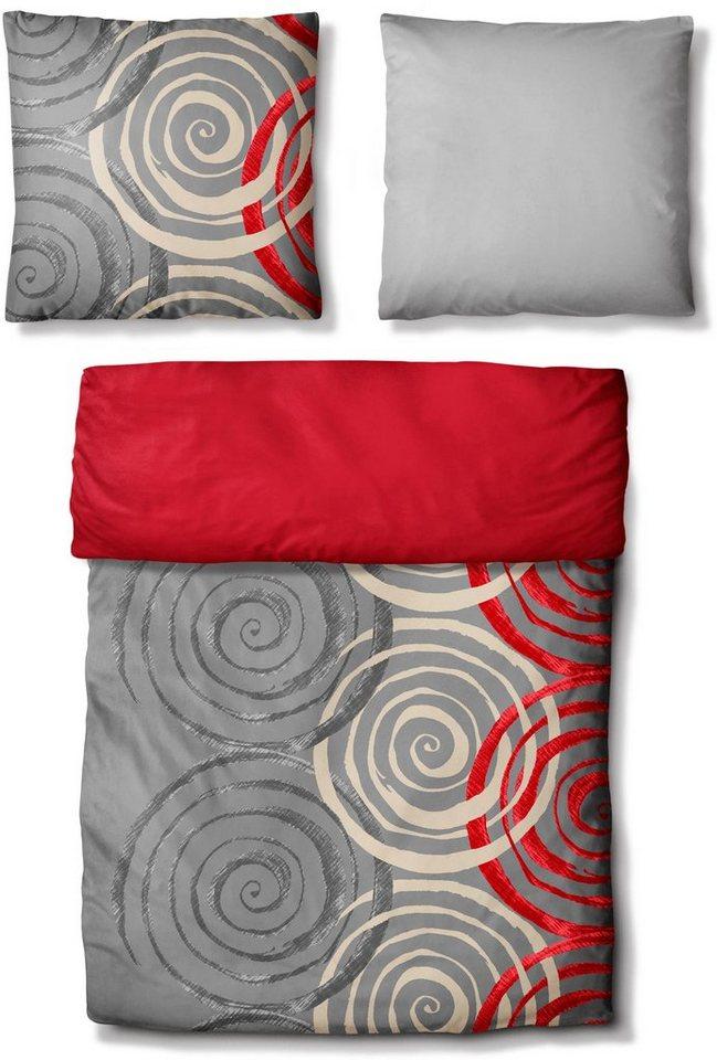 Wendebettwäsche, Auro Hometextile, »Drey«, mit Kreisen in grau-rot