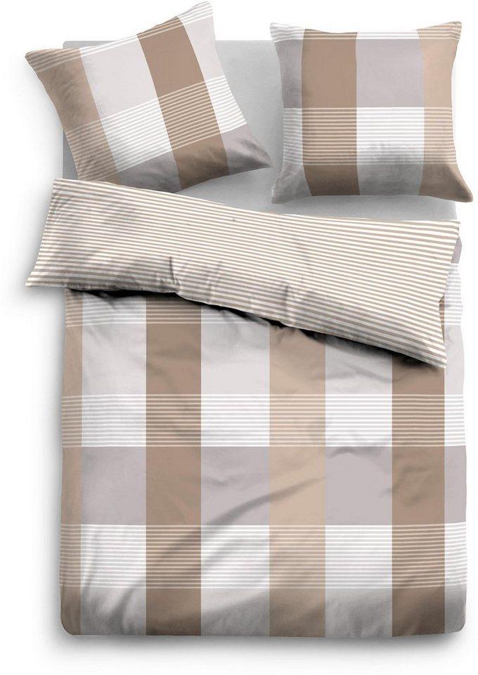 Bettwäsche, Tom Tailor, »Rapid«, mit Karo & Streifen in beige