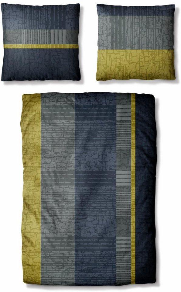 Bettwäsche, Auro Hometextile, »James«, mit Streifen Muster in grau-grün