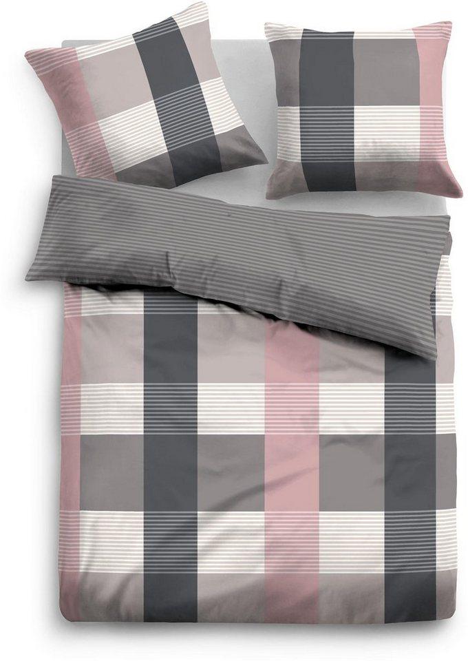 Bettwäsche, Tom Tailor, »Rapid«, mit Karo & Streifen in grau