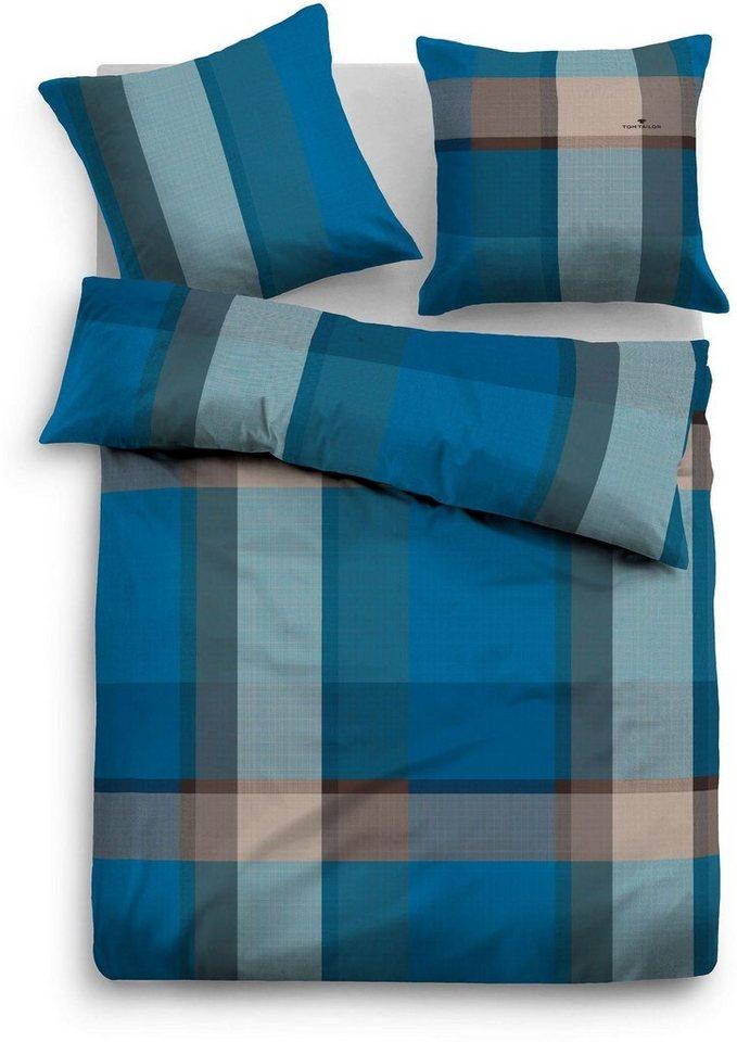 Bettwäsche, Tom Tailor, »Slai«, mit breiten Streifen in blau
