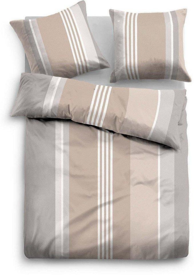 Bettwäsche, Tom Tailor, »Riev«, mit bunten Streifen in beige