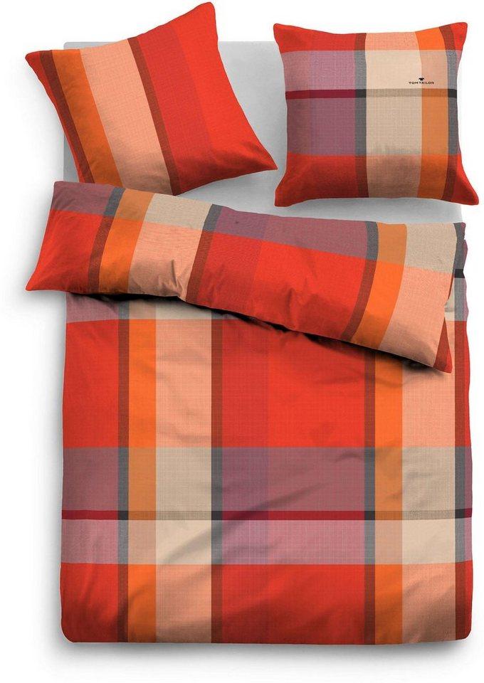 Bettwäsche, Tom Tailor, »Slai«, mit breiten Streifen in rot-orange