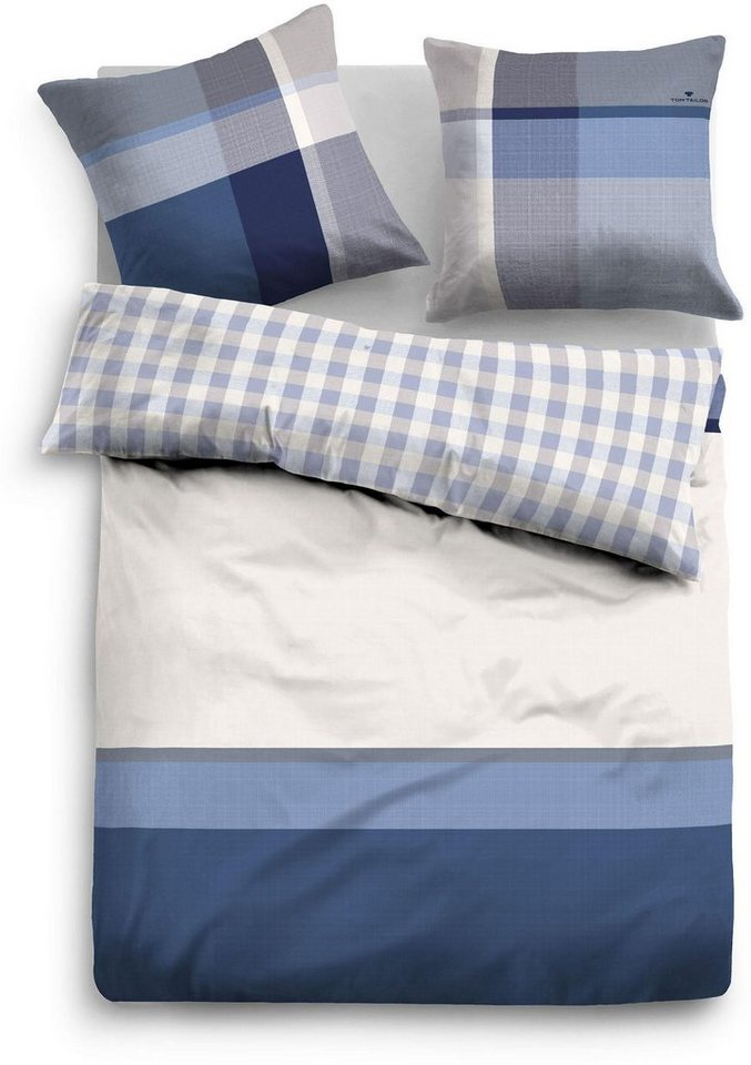 Bettwäsche, Tom Tailor, »Sally«, mit Farbbalken in blau