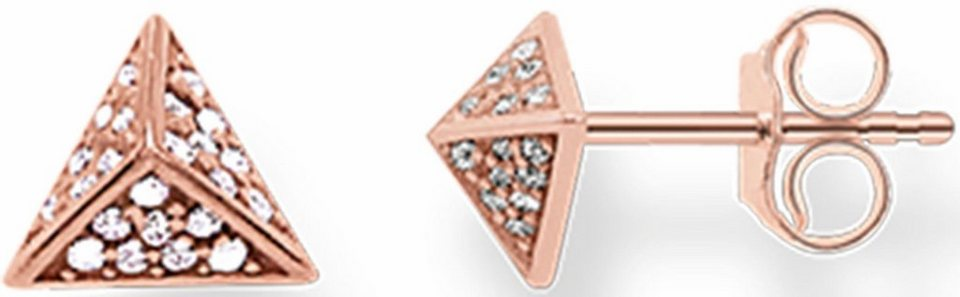 Thomas Sabo Paar Ohrstecker »Pyramide, H1867-416-14« mit Zirkonia in Silber 925-roségoldfarben