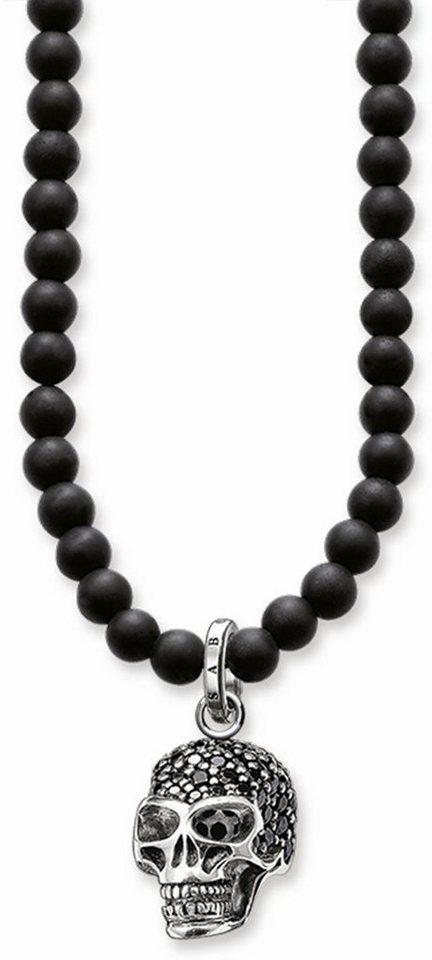 Thomas Sabo Silberkette »Totenkopf, KE1279-159-11-L60« mit Obsidian und mit Zirkonia in Silber 925-schwarz