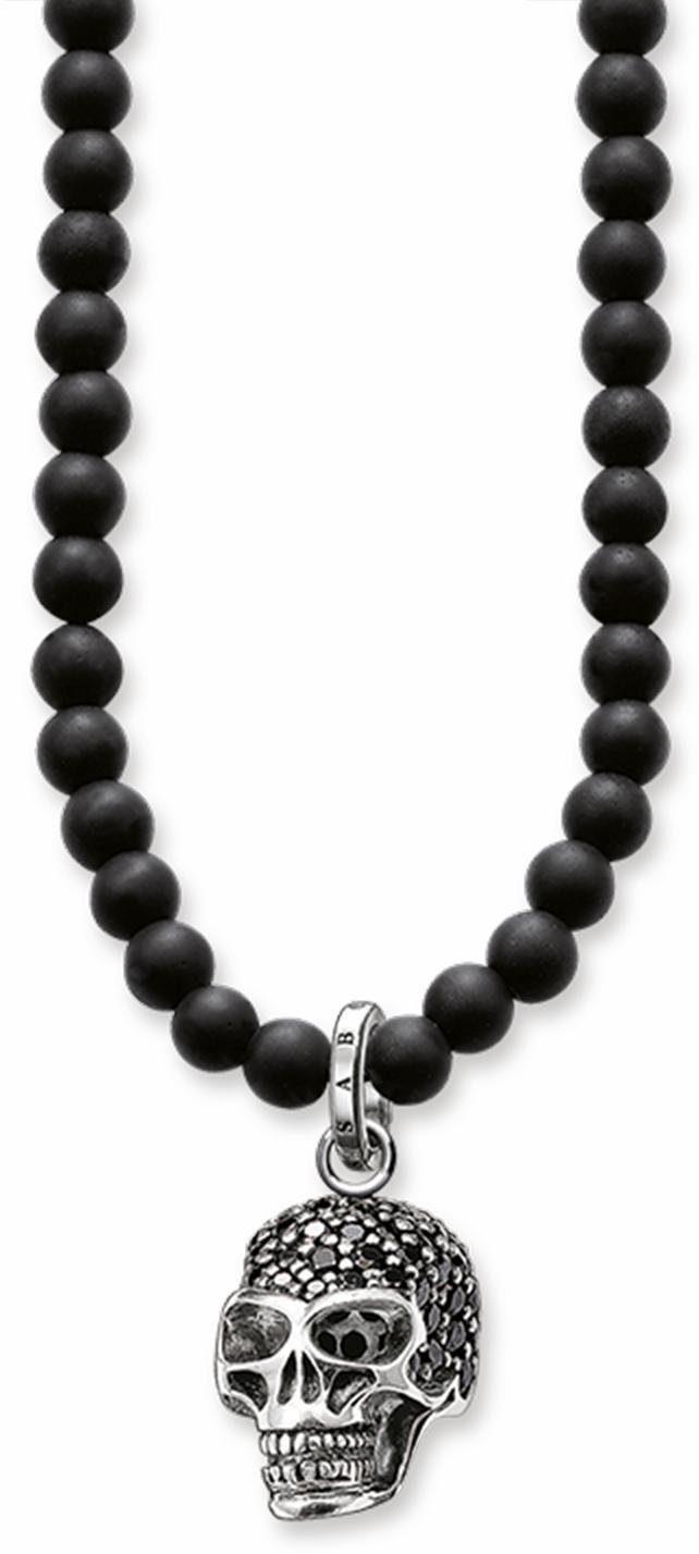 Thomas Sabo Silberkette »Totenkopf, KE1279-159-11-L60«, mit Obsidian und mit Zirkonia