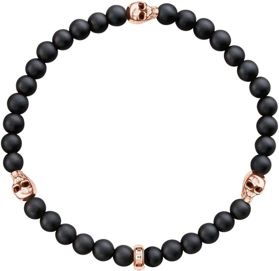 Thomas Sabo Armband »Totenkopf, A1508-444-11« mit Obsidian in Silber 925-roségoldfarben-schwarz