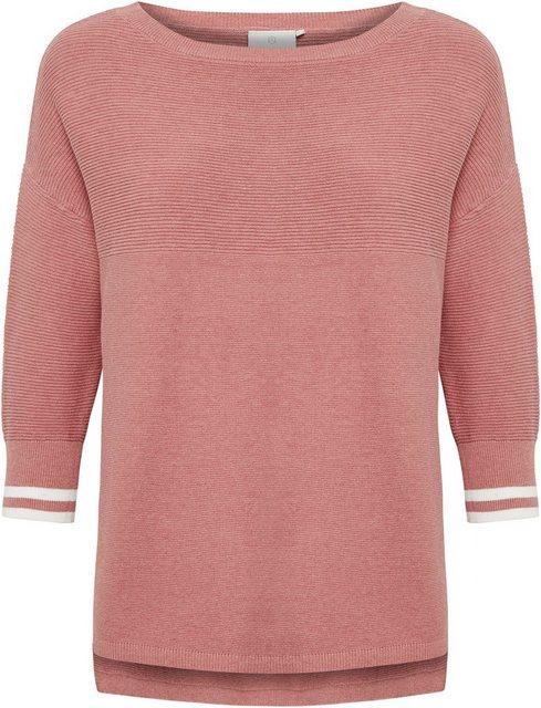 KAFFE 3/4 Arm-Pullover mit Streifen am Ärmelabschluß   Bekleidung > Pullover > 3/4 Arm-Pullover   Kaffe
