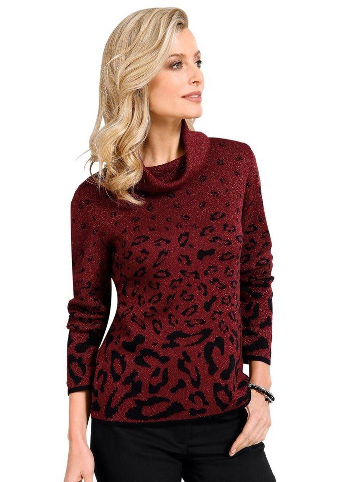 Lady Pullover mit Intarsien-Strickmuster im Tierfell-Stil in bordeaux