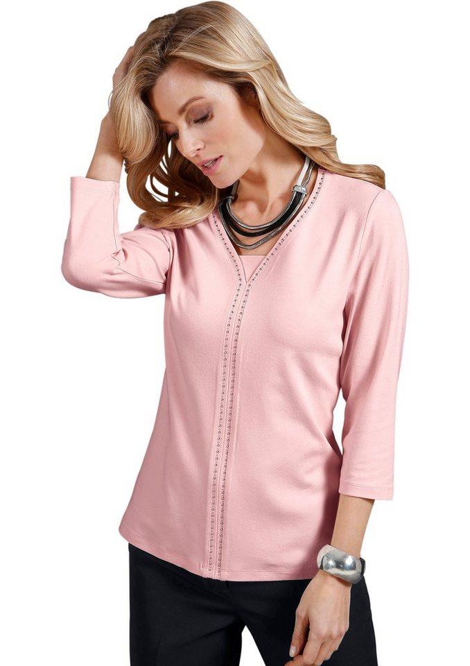 Lady Shirt mit farblich abgestimmtem Einsatz im Vorderteil in rosé
