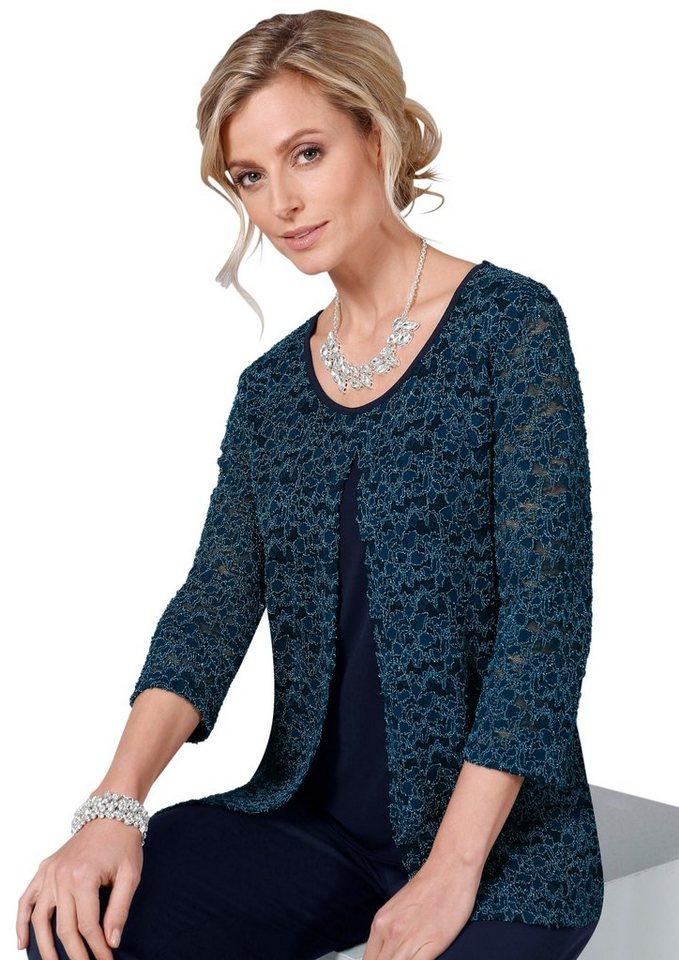 Lady Shirt ist rundum aus feiner Spitze gearbeitet in blau