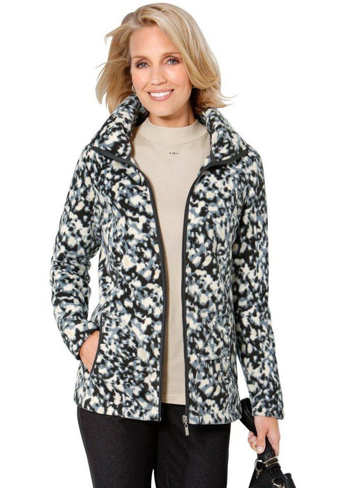 Classic Basics Fleece-Jacke im kontrastreichen Dessin in beige-anthrazit
