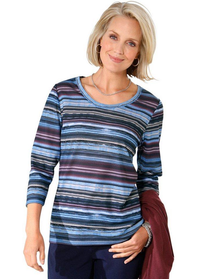 Classic Basics Shirt im flotten Streifendessin in weinrot-marine-gemustert