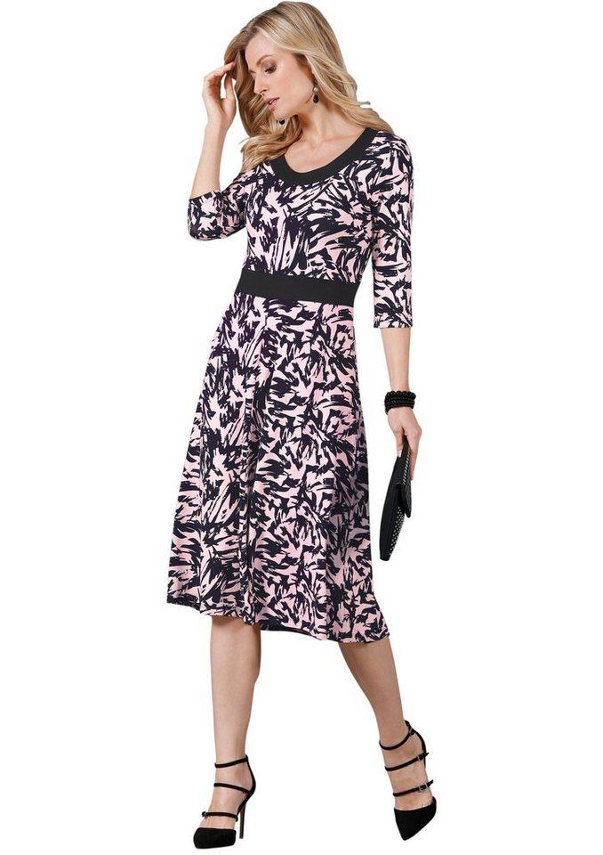Lady Jersey-Kleid mit Stretch-Anteil in rosé-schwarz-gemustert
