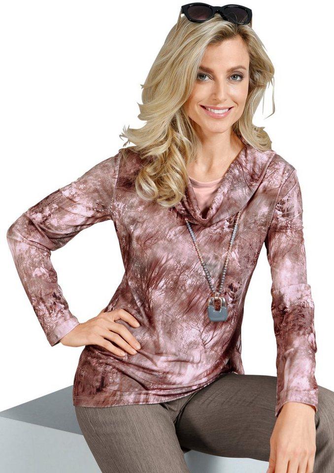 Lady Shirt mit großzügigem Rollkragen in rosé-bedruckt
