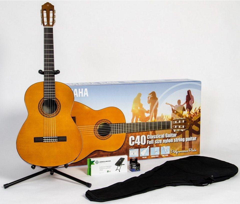 Yamaha Set Konzertgitarre mit Stimmgerät, Tasche, Fußbank und Ständer, »C40 Performance Pack 4/4«