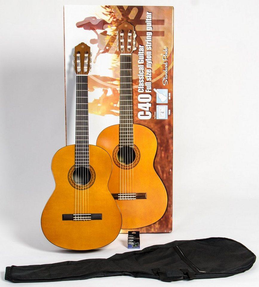 yamaha set konzertgitarre mit stimmger t und tasche c40. Black Bedroom Furniture Sets. Home Design Ideas