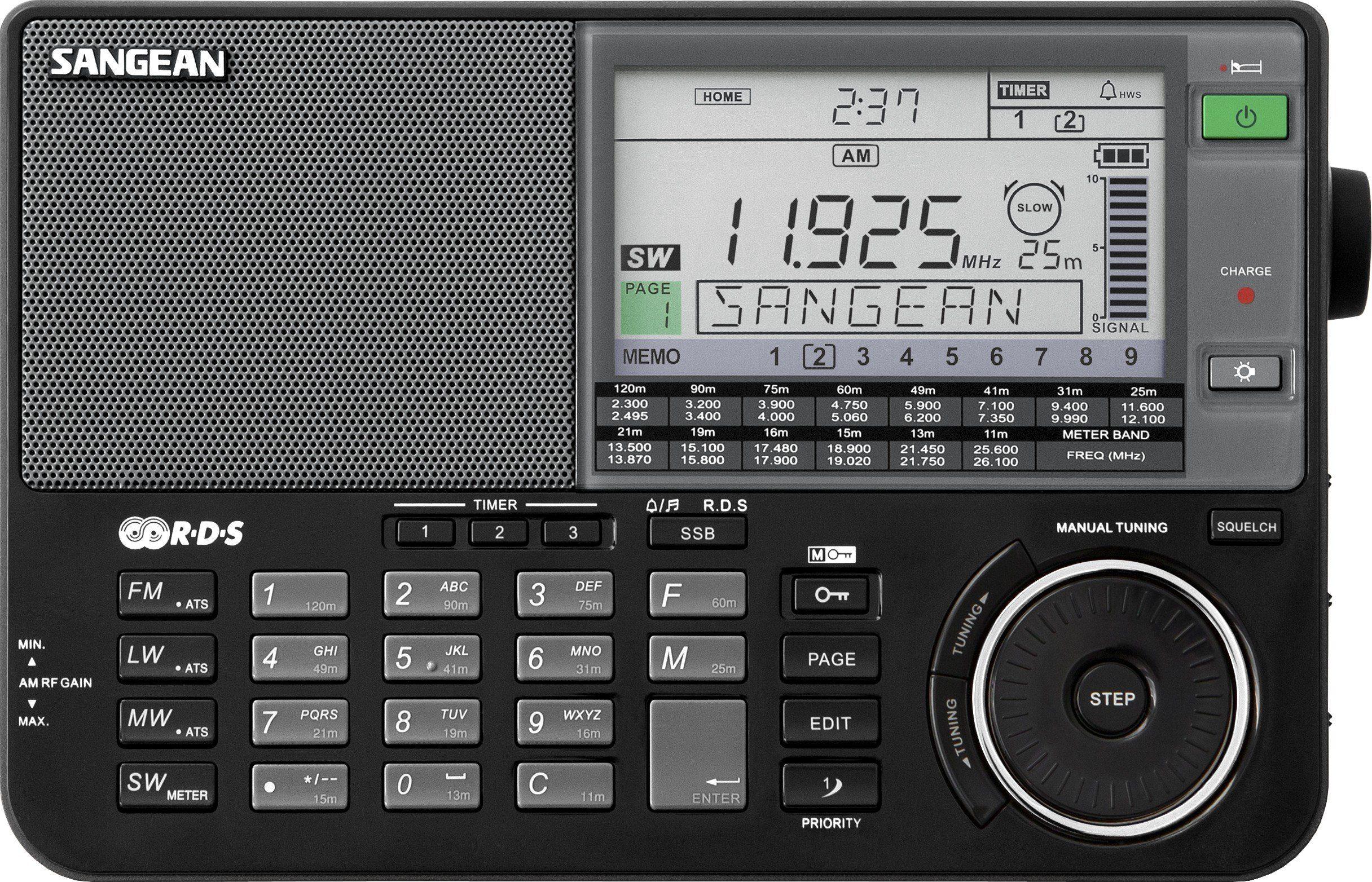 Sangean Weltempfänger (UKW/MW/KW/LW, inkl. Tasche und Kopfhörer) »ATS-909X schwarz«