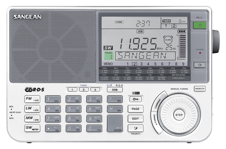 Sangean Weltempfänger (UKW/MW/KW/LW, inkl. Tasche und Kopfhörer) »ATS-909X weiß«